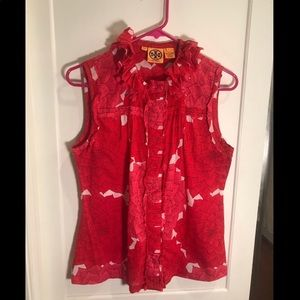 Tory Burch Pink And Red Floral Tank Size 8 EUC